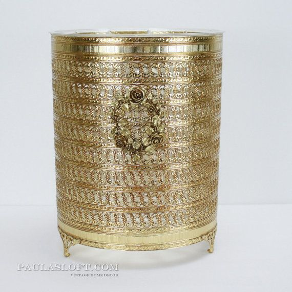 Filigree gold wastebasket