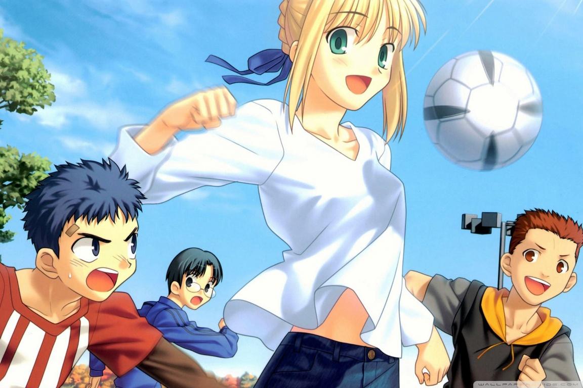 Anime girl with soccer ball