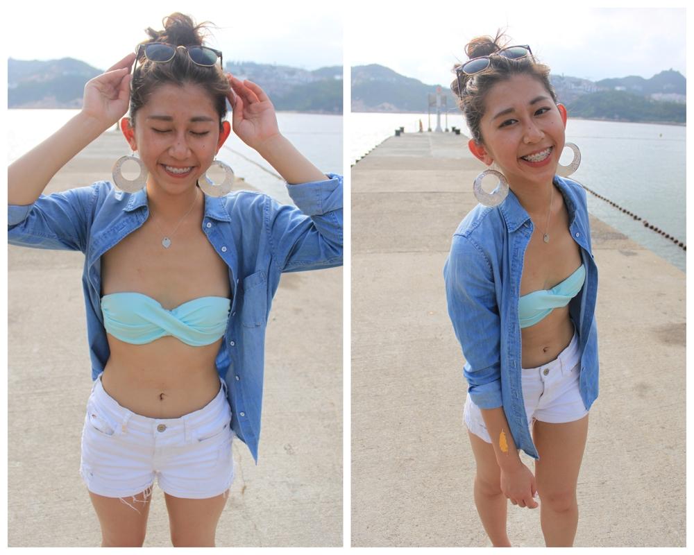 Girls flat chested bikini