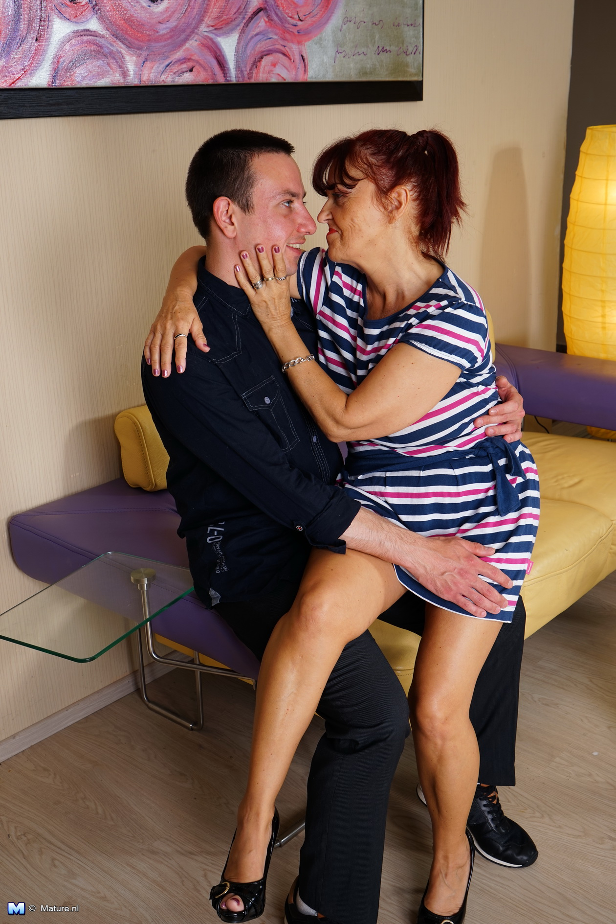 Horny housewife playing with her boy toy