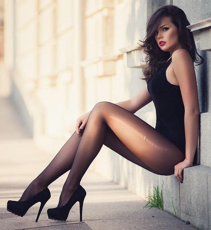 Sexy girls long legs high heels stockings