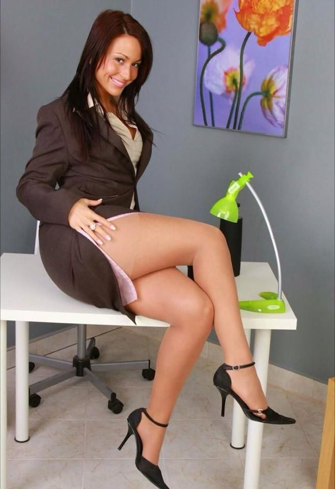 Office secretary nylon stockings