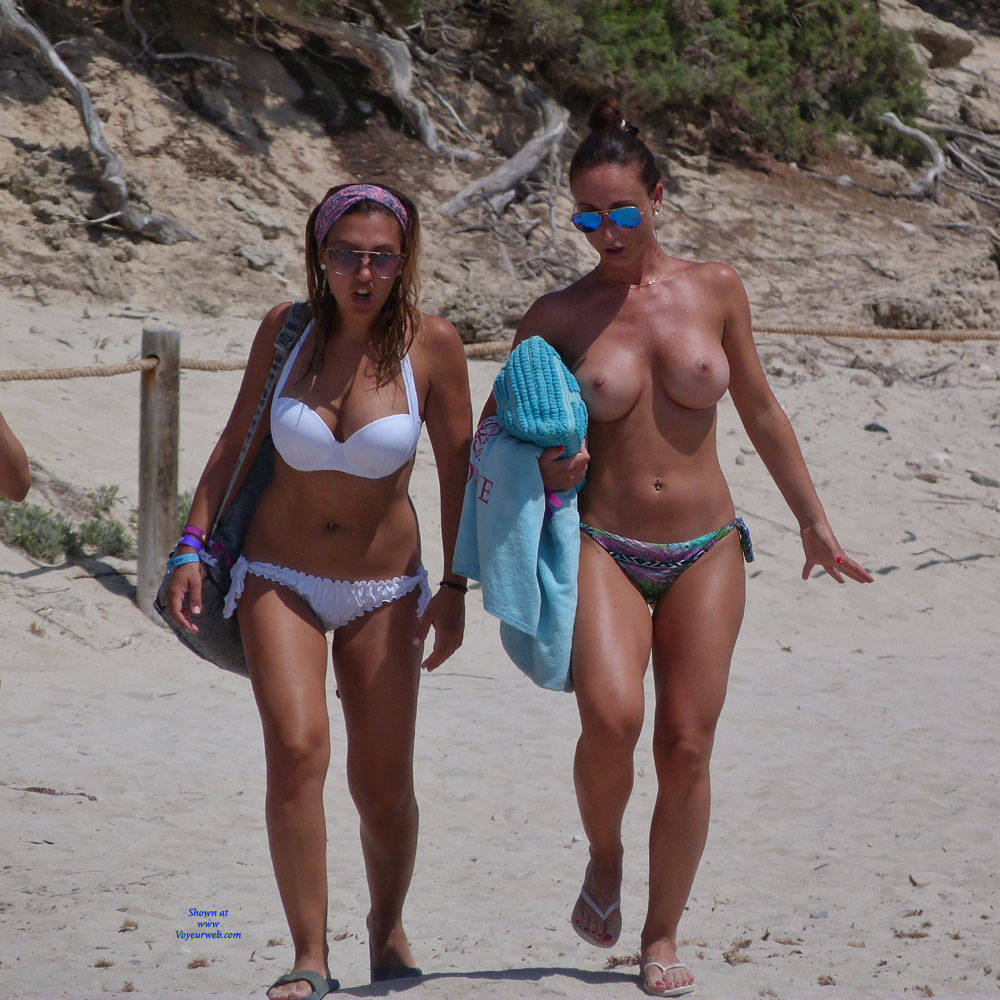 Bikini girls big boobs topless at beach