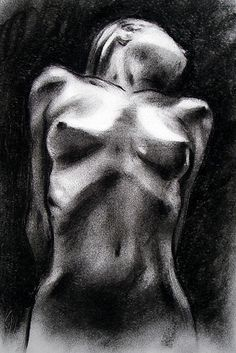 Nude woman charcoal drawing