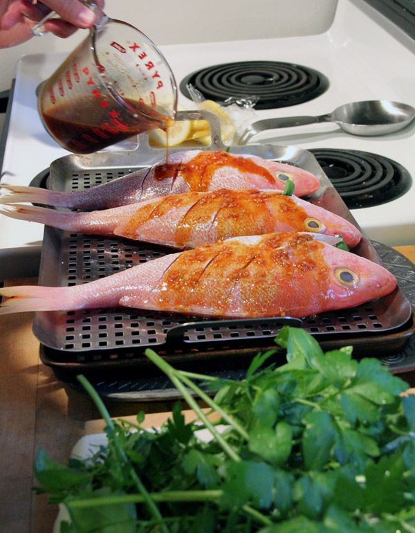 red Grilled snapper recipe whole