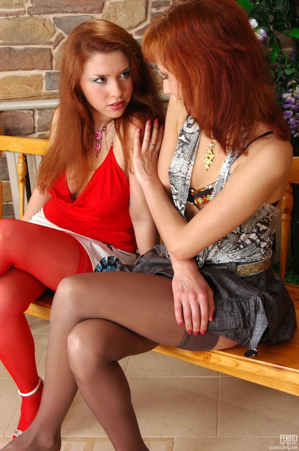 Lesbian crotchless pantyhose