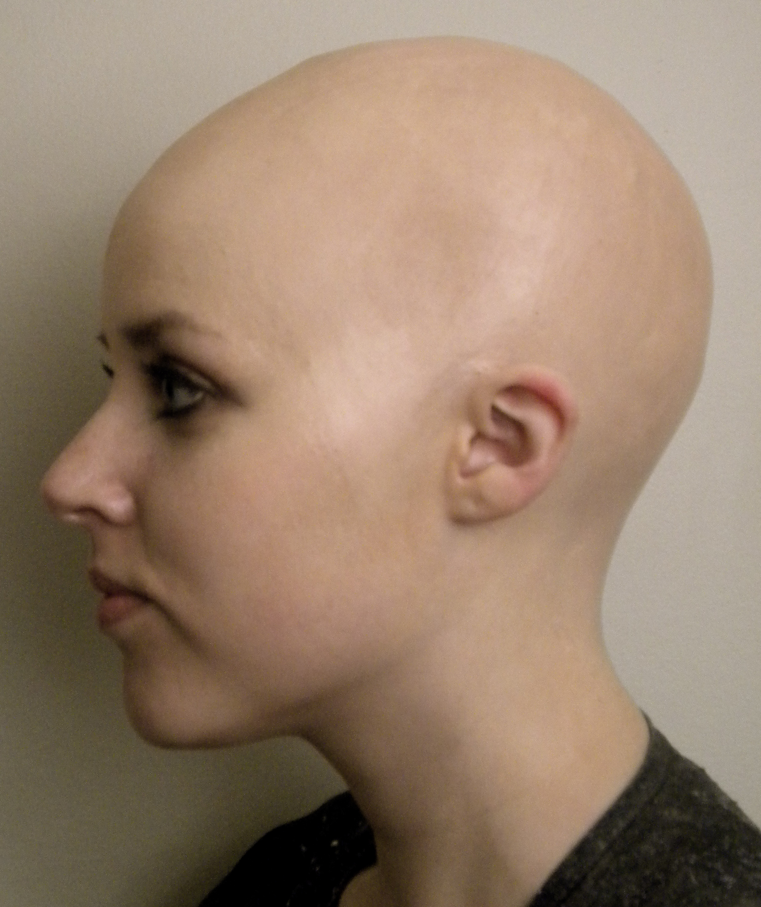 Shaved smooth bald women
