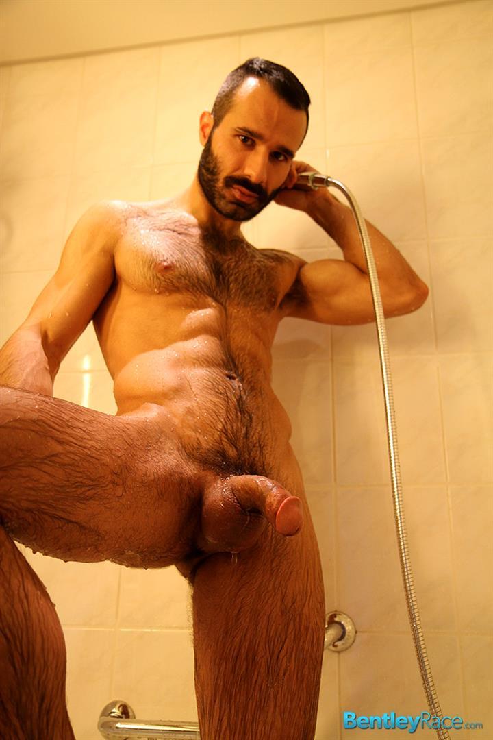 Naked hairy men jerking off big cock