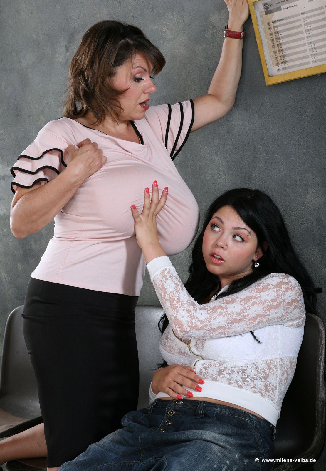 Lesbian girls holding breast