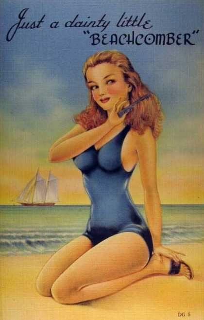 Vintage postcard surfer women
