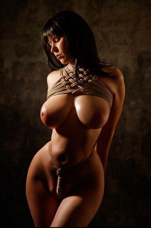 Naked women breast bondage