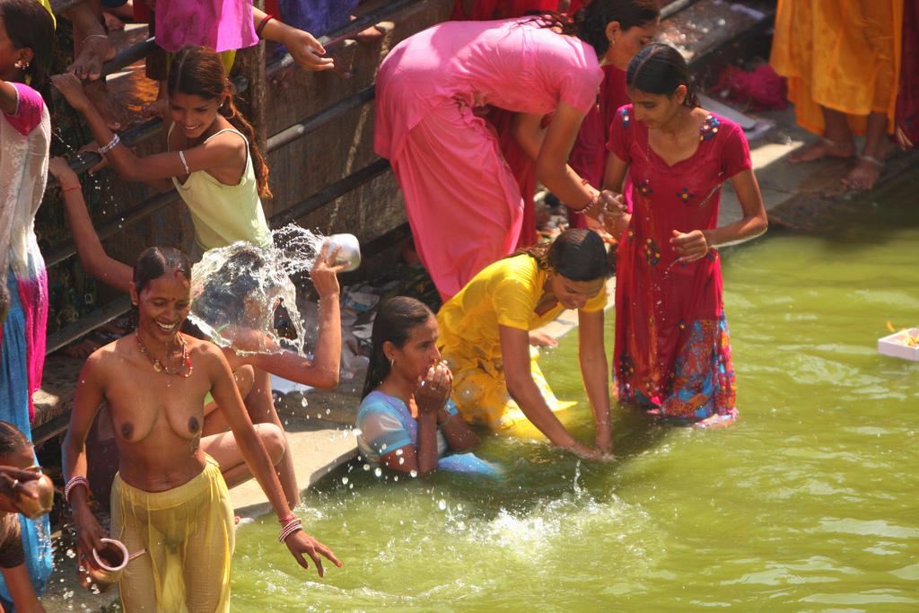 Bathing nude indian model