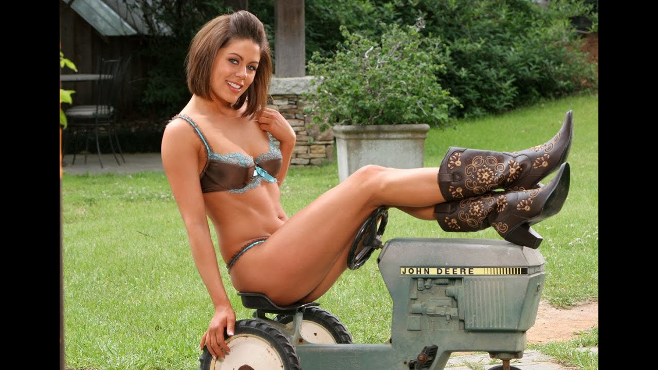 Nude girls by tractors