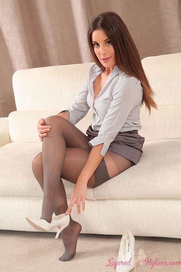 nylon Office stockings secretary