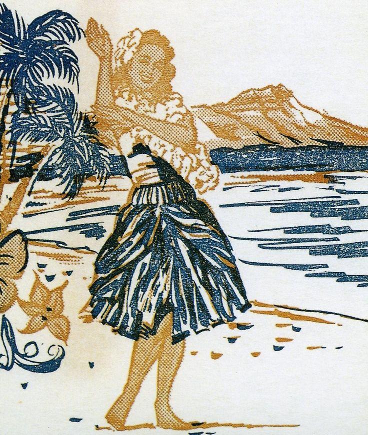 Vintage postcard surfer women