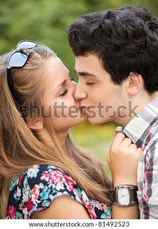 Teens making love outdoors