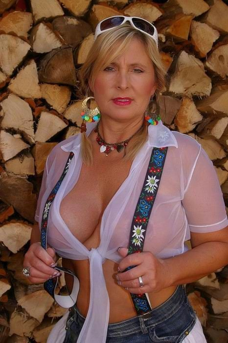 Mature amateur women posing