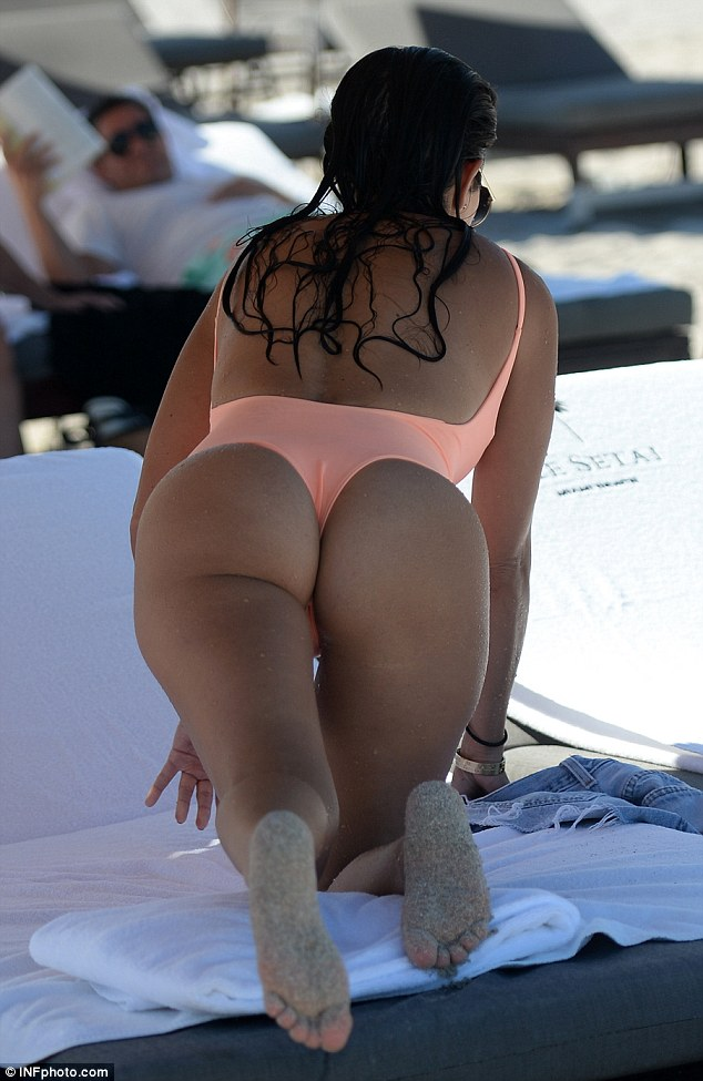 On her knees thong