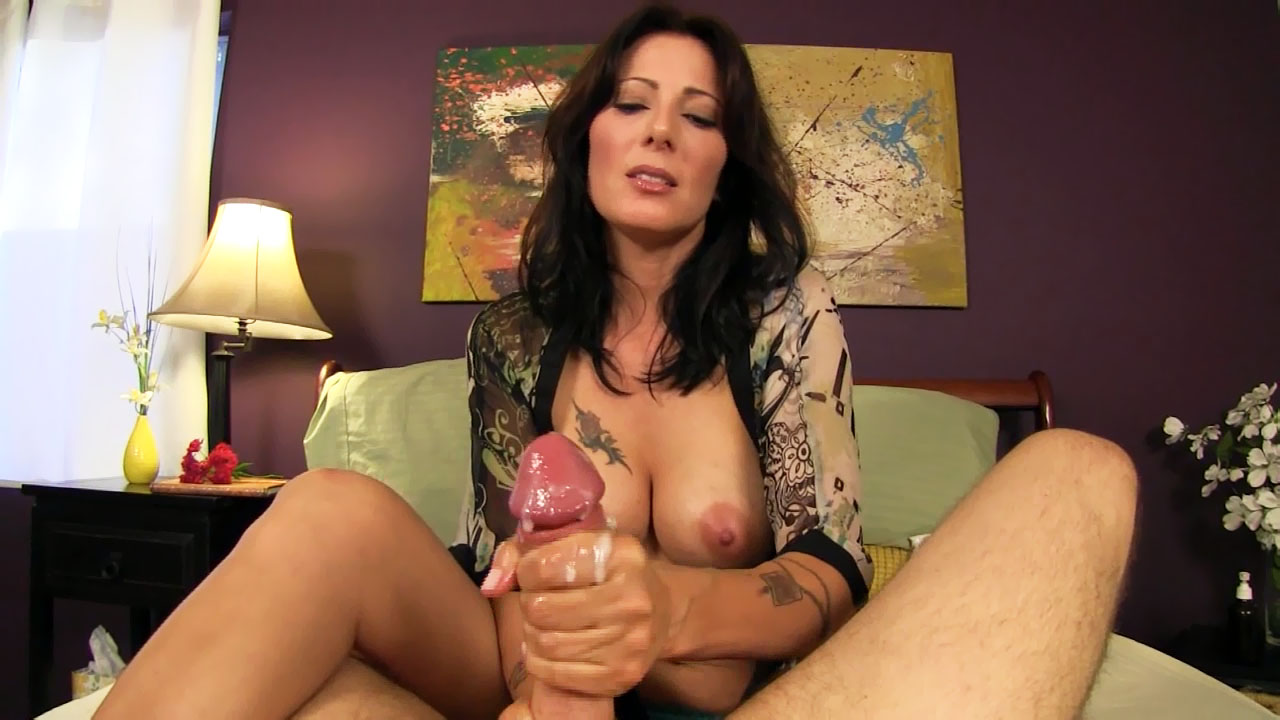 Mom gives son handjob