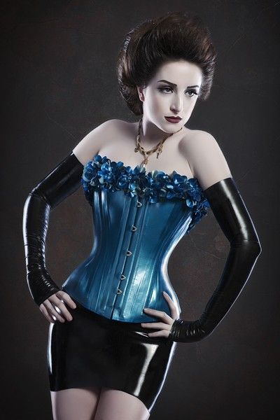 Secretary bent over corset