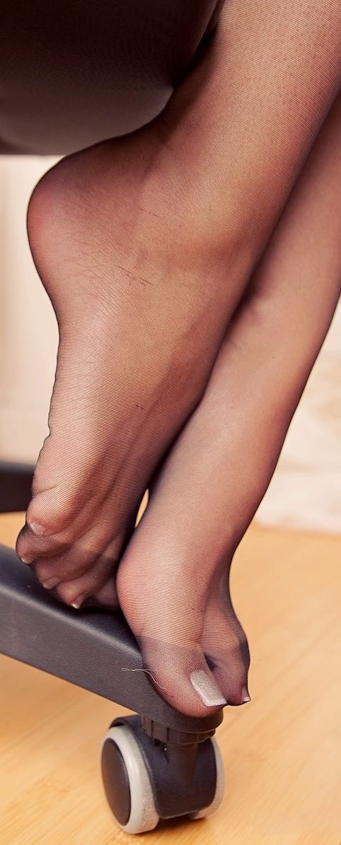 Sexy sheer nylon feet