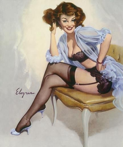 Sheer lingerie art stockings