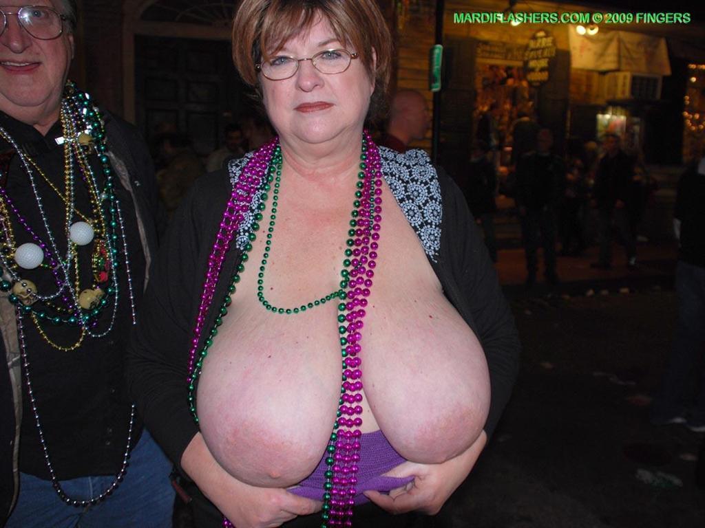 Granny flashing tits in public