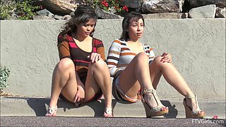 Girls flashing upskirt