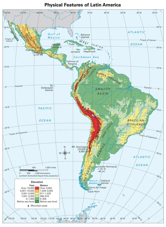 Latin america physical map