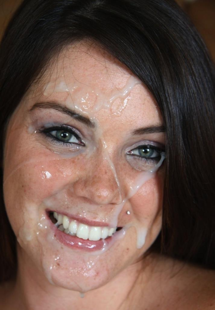 Brunette cum on face
