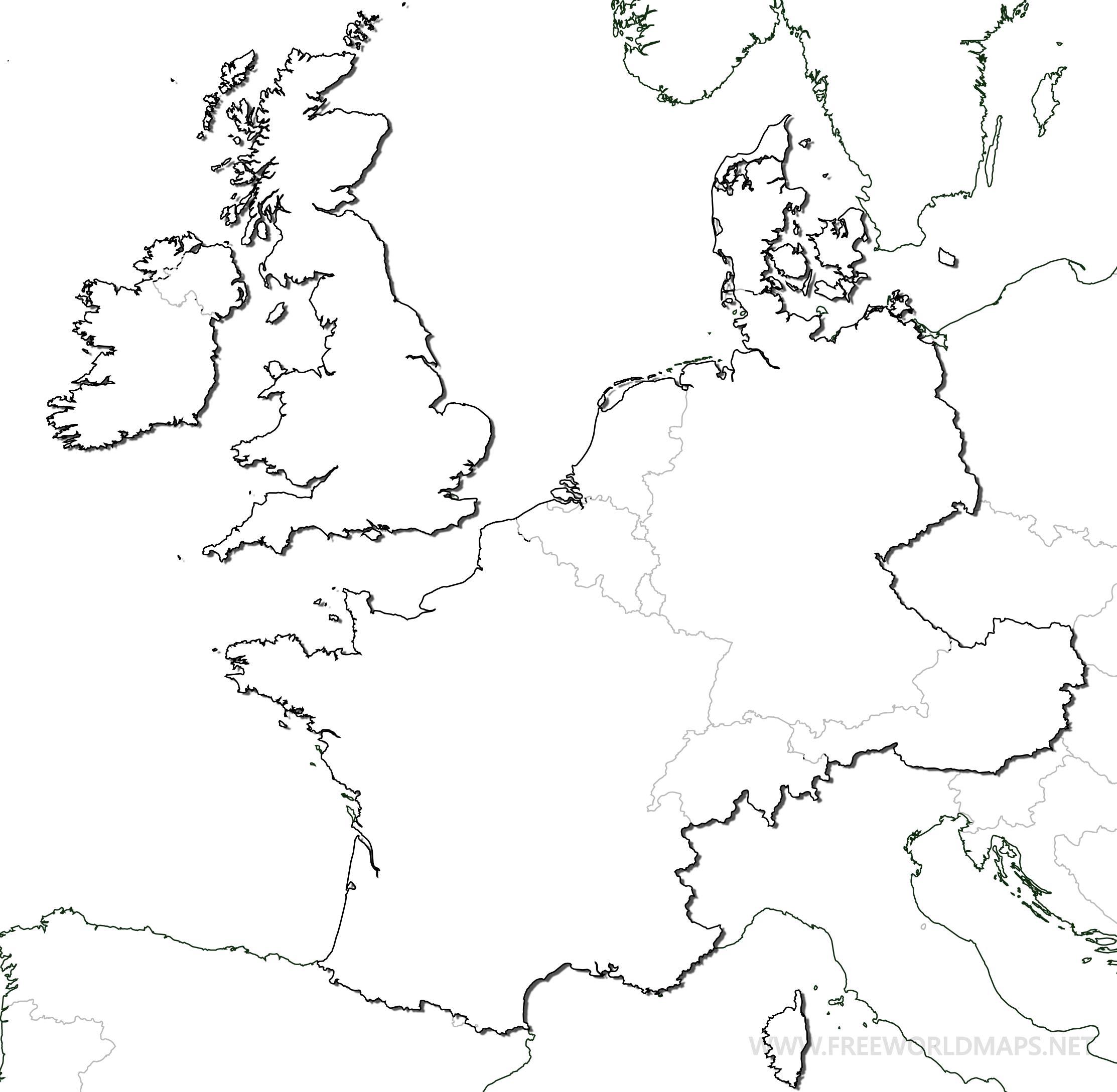 Blank western europe map