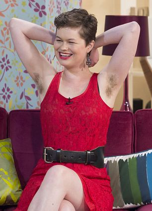 Mature woman with hairy armpits