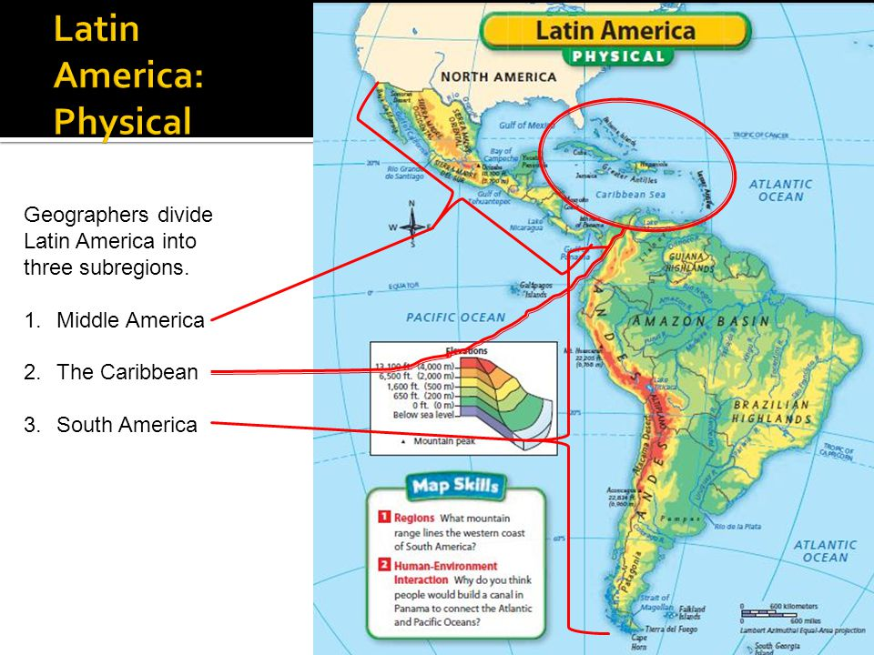 physical map america Latin