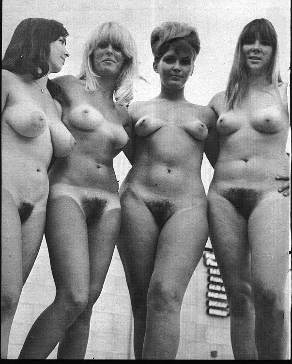 Vintage hairy nudist family
