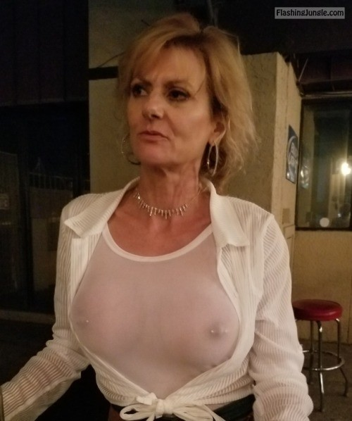 Granny flashing tits in public