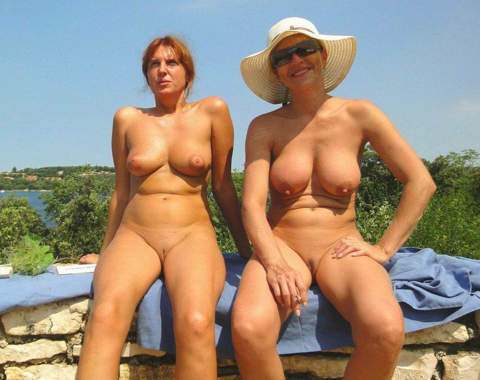 Naked mature women nude on beach