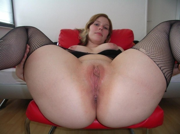 Chubby shaved pussy spread