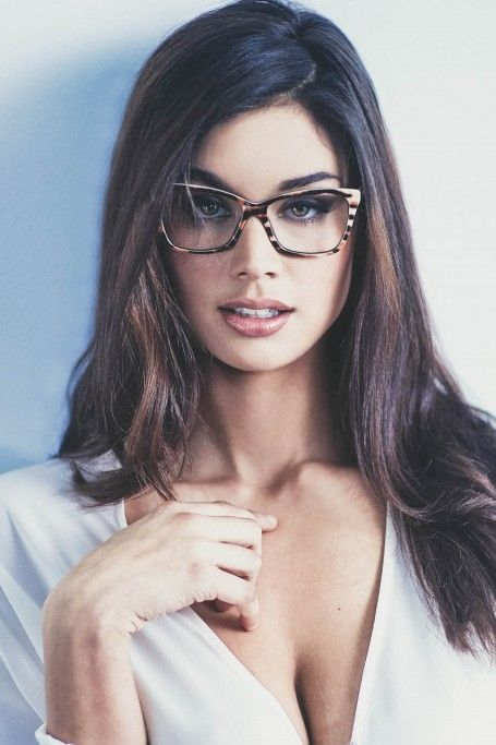 Sexy college girl having sex with glasses