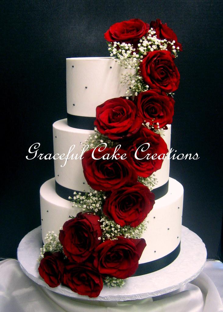 Black and ivory wedding cake