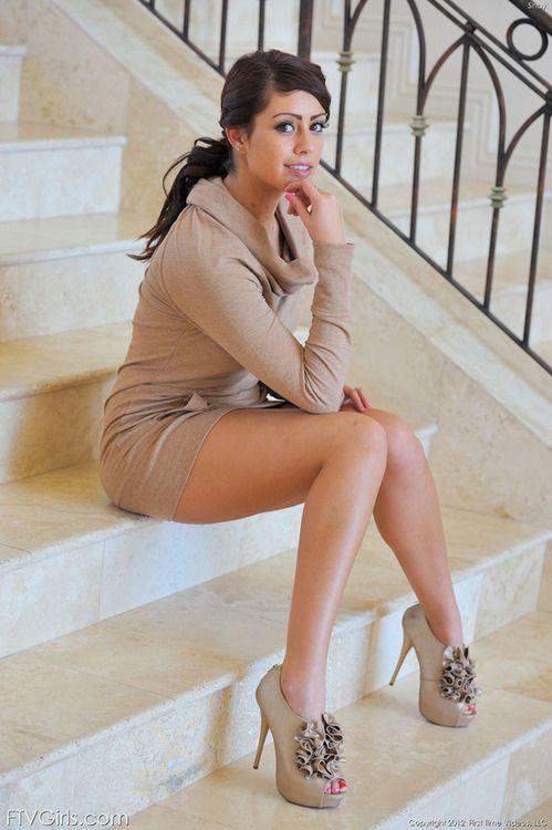 Teen brunette mini skirt