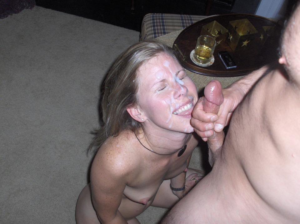 Amateur wives cum on face