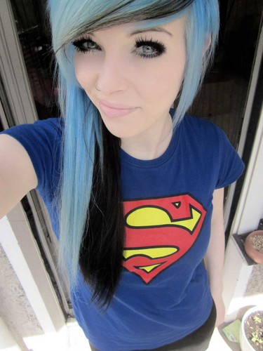 Emo girl with black hair and blue