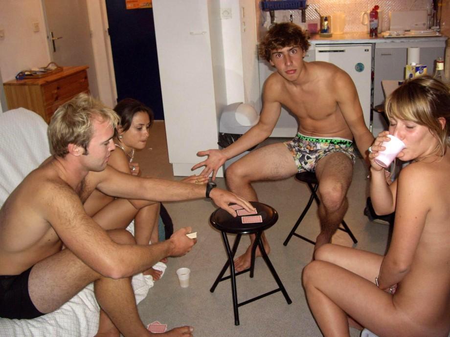 Amateurs playing strip poker