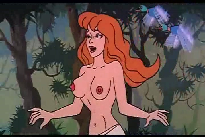 Nude female cartoon characters having sex