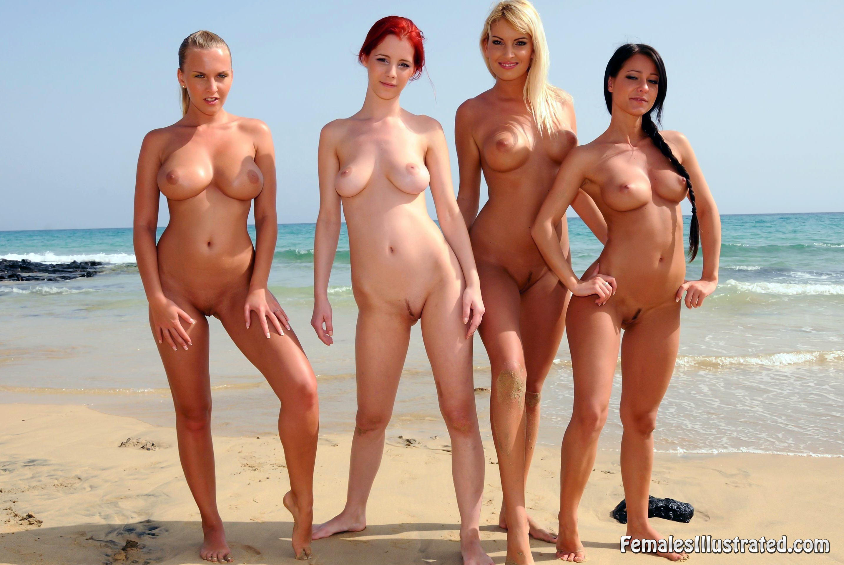 Naked group beach girls