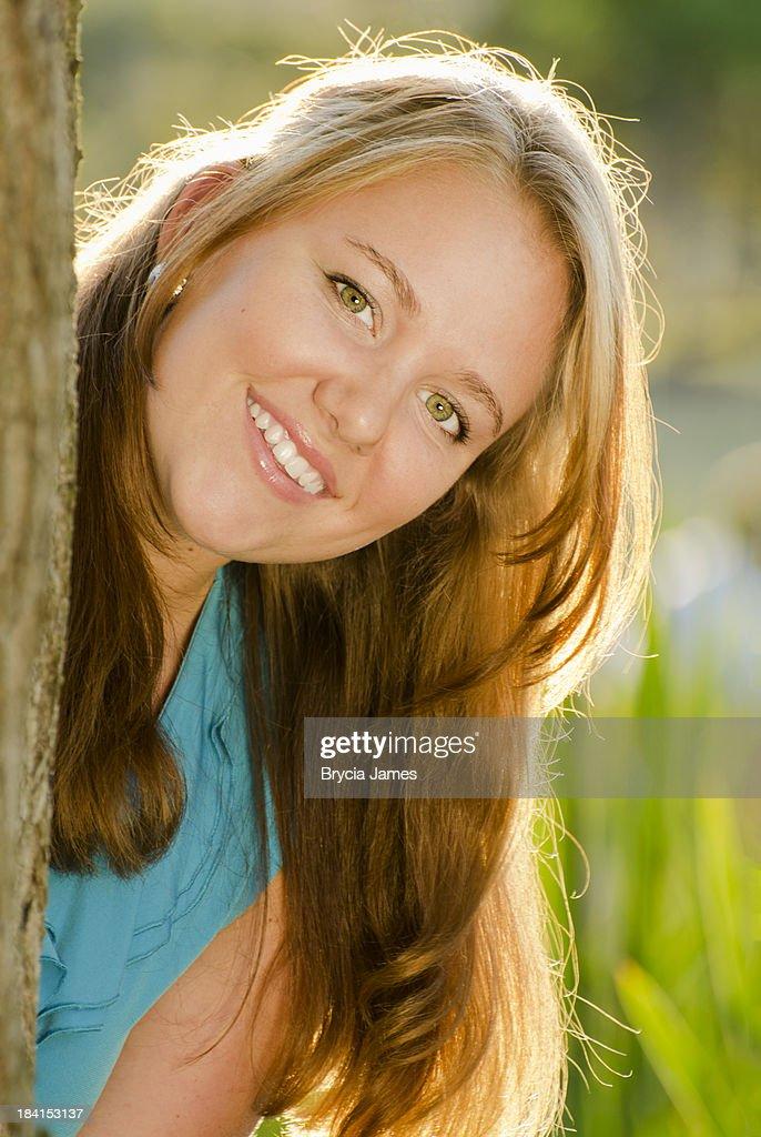 Brunette teen facial