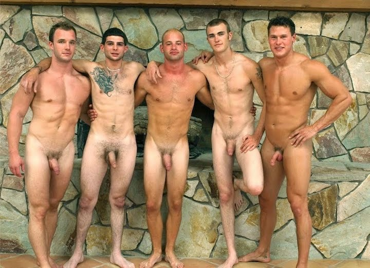 Nude men group naked