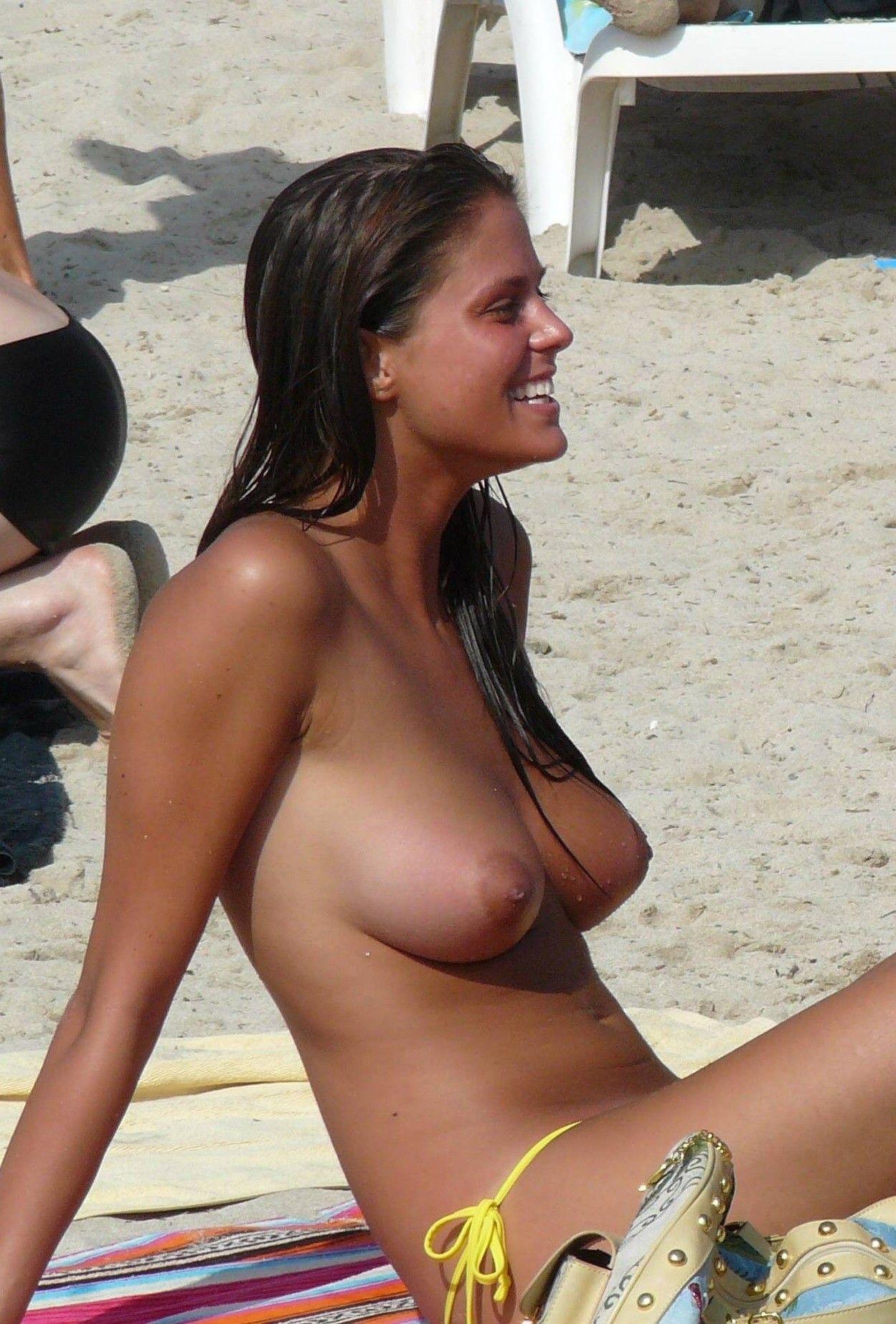 Brunette topless beach