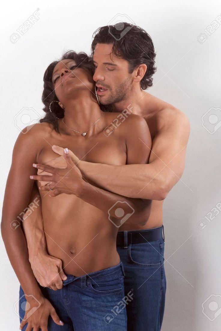 Nude black woman white man