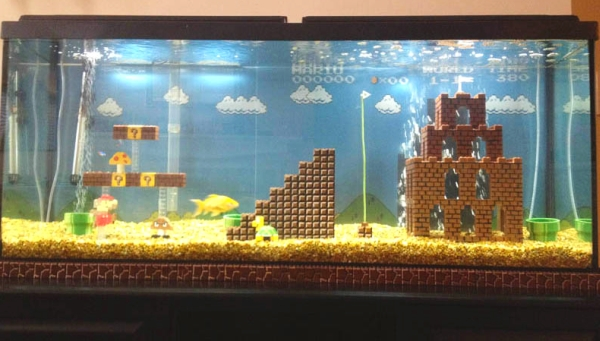 Super mario fish tank decorations
